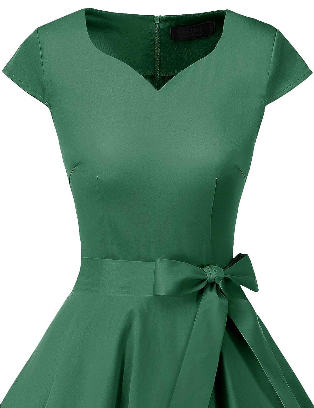 Dresstells Retro 1950s Polka Dot Cocktail Vintage Swing Cap-Sleeves Dress