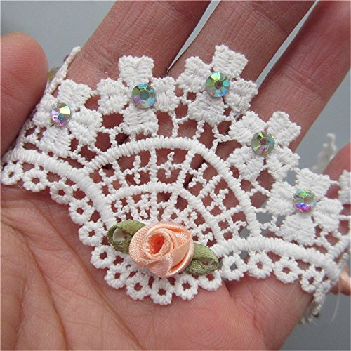 (1 Meter Four Leaf Clover Guipure Scalloped Picot Wave Beaded Lace Edge Trim Ribbon 5.5 cm Width Vintage Style White Edging Trimmings Fabric Embroidered Applique Sewing Craft Wedding Bridal Dress)