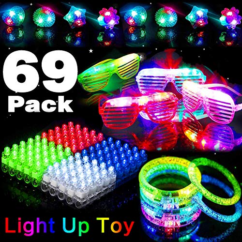 rty Favors 69 Pack LED Light Up Toy Glow In The Dark Party Supplies With 4 Led Bracelet 4 Shutter Shades Glasses 10 Flashing Bumpy Ring 50 LED Flashing Finger Light Assortment Toy ()