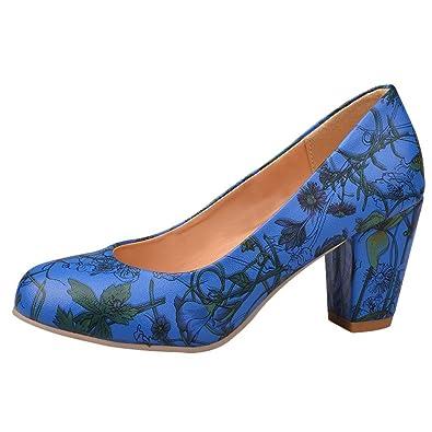 Show Shine Women's Sweet Leather Block Mid-heel Prints Upper Court Shoes (2,
