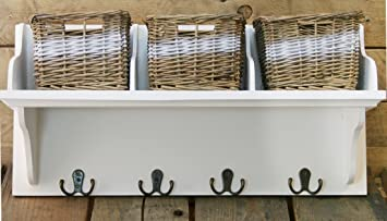 wicker storage unit with 3 baskets and coat hook hangers: amazon ... - Coat Hooks With Storage