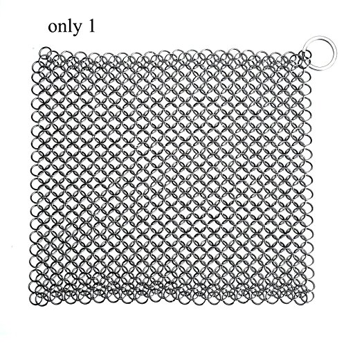 Thuctek Chainmail Scrubber Cast Iron Cleaner Stainless Steel Scrubber XL 8x8 [FDA Approved] Scratch Proof Close-knit Small Rings, Heavy Duty & Durable
