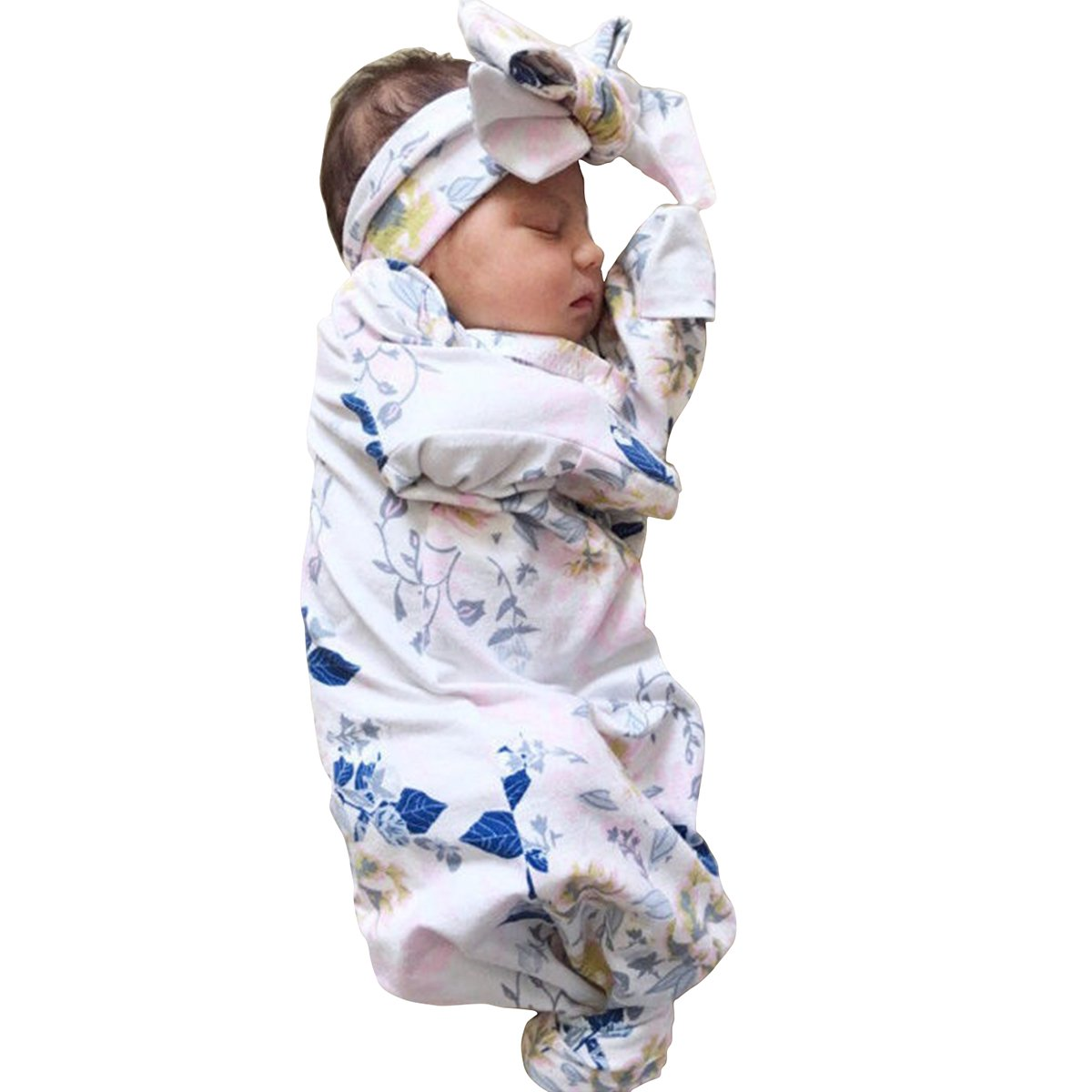 Newborn Baby Girl Boy Floral Wearable Blanket with Headband Gown Coming Home Outfit Gift Safe Sleeping Bag for Infant 0-3M