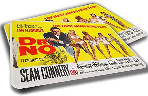 Brotherhood 1950 s Dr. No Sean Conney as 007 Movie Poster Rubber Grip Non Skid Backing Rug Indoor Entryway Door Rug Mats Pack of 2