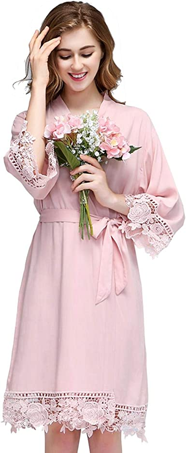 Lmc Bridal Women Rose Lace Cotton Robes Getting Ready For Bride And Bridesmaids Blush At Amazon Women S Clothing Store