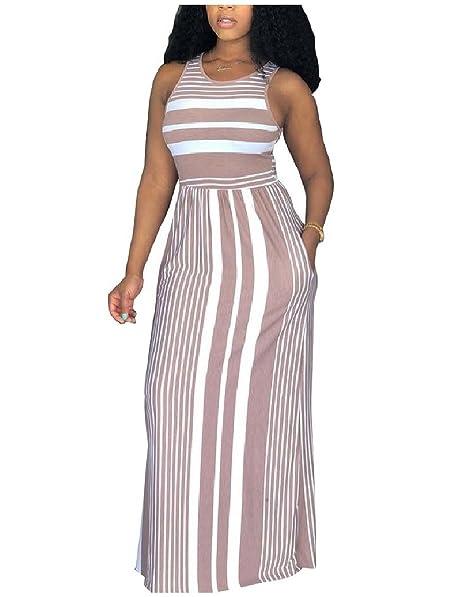 Comaba Women Cozy Summer Long Maxi Rainbow Pinstripe Plus ...