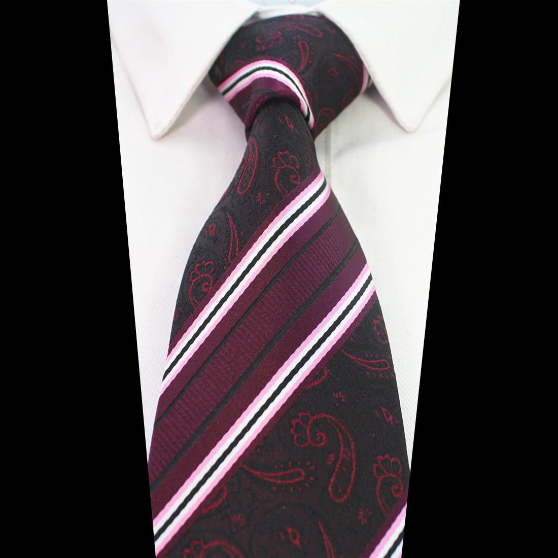 GUSLESON 8cm Classic Mens Silk Wedding Tie with Multiple Colors Patterns