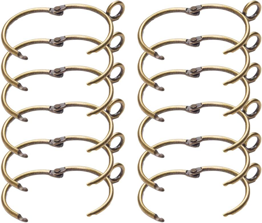 12Pcs Metal Hooks Unique Hangers Glide Rings for Curtain Shower Curtain