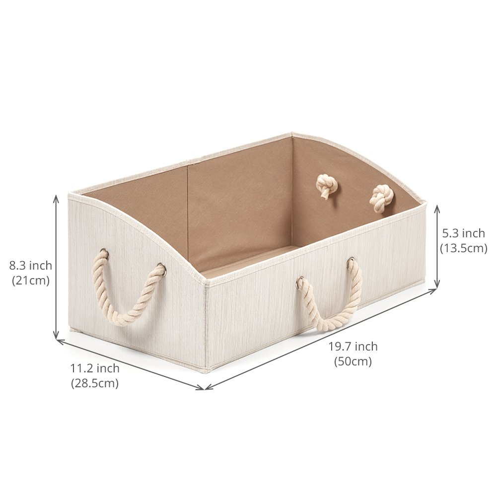 Diaper Collapsible Basket for Shelves Baby Toys Closet Set of 3 Large Storage Bins EZOWare Foldable Fabric Trapezoid Organizer Boxes with Cotton Rope Handle Beige