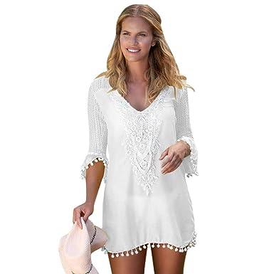 3096d77f887b HITSAN INCORPORATION Girl Plus Size Beach Tunic Tassel Hem Gauze Cover up  Mini Dress LC42231 Women
