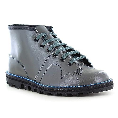 e8f0685050 Grafters Boys Original Coated Leather Retro Monkey Boots (3 Childs UK)  (Grey)
