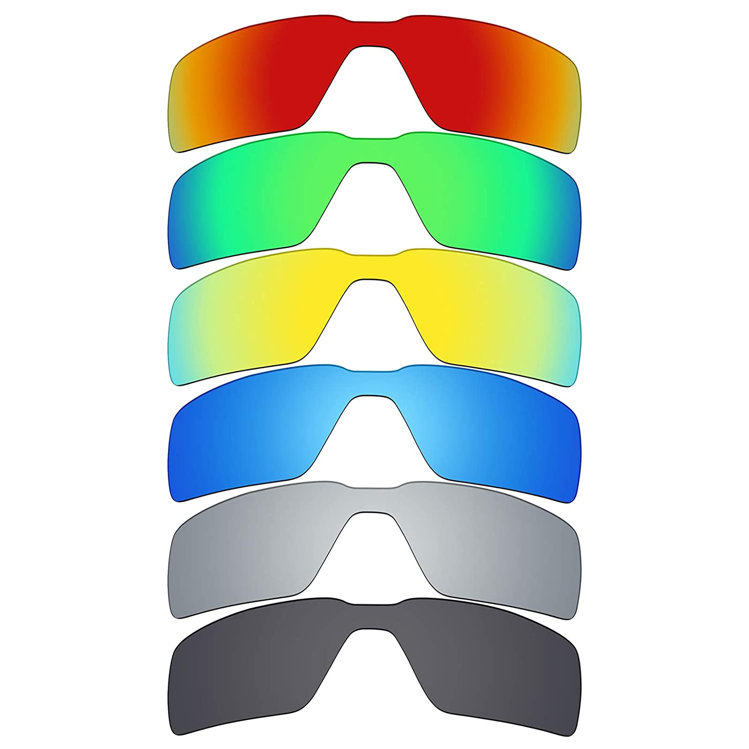 2357eee3d509f Amazon.com   Mryok 6 Pair Polarized Replacement Lenses for Oakley Probation  Sunglass - Stealth Black Fire Red Ice Blue Silver Titanium Emerald  Green 24K ...