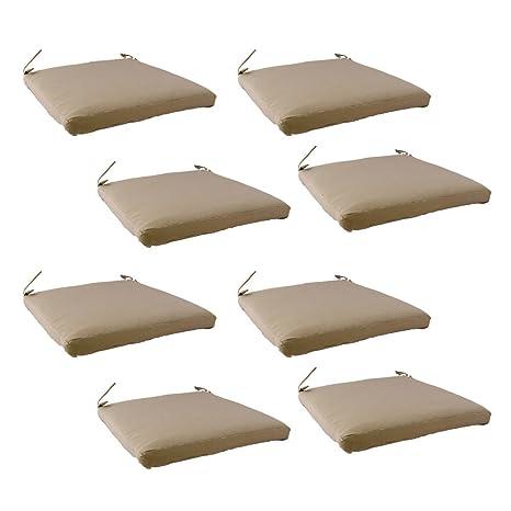 Edenjardi Pack 8 Cojines para sillas y sillones de jardín Color Lux Arena, Tamaño 44x44x5 cm, Repelente al Agua, Desenfundable