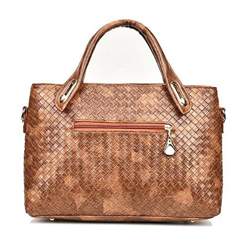 Yellow Women Weaven Tote Bags Leather 4pcs Clutch Handbag Card Bag Bag Shoulder Bag PU Domybest Set Body Cross TCwqTI