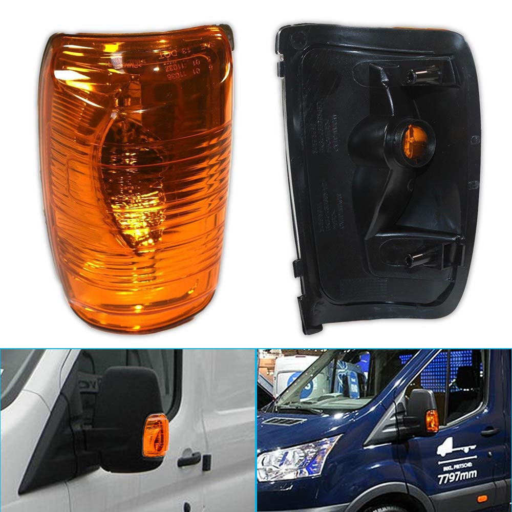 MASO Left Wing Mirror Indicator Lamp Lens Turn Signal Lights for Ford Transit MK8 2014