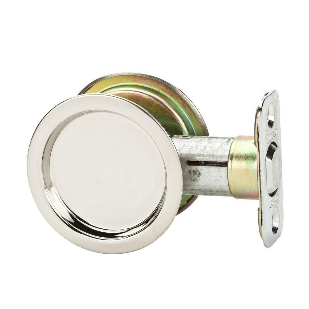 Kwikset 334 32 RND PCKT DR LCK Pocket Door Lock, Passage Function, Steel Finish [Misc.]