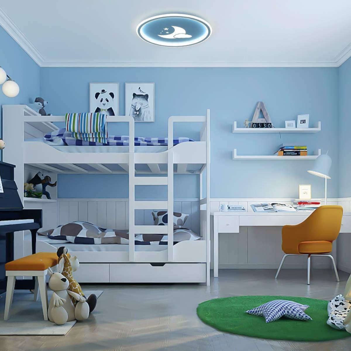 Deckenlampe Kinderzimmer Blau mit Wolke//Mond//Sterne f/ür Jungen Rund 40X40CM LED Deckenleuchte Dimmbar Fernbedienung f/ür Schlafzimmer 36W 3000K-6000K 2700LM