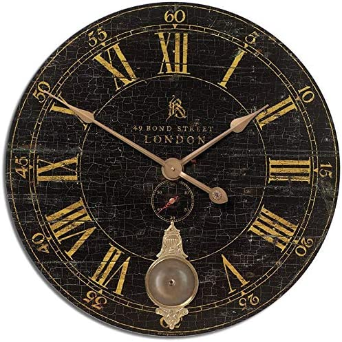 Uttermost Bond Street 30″ Black Wall Clock