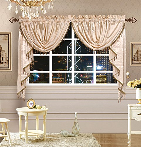 Royalty Custom Waterfall Window Valance Swags & Tails (Cream, pair of swags & tails(132x47inch))