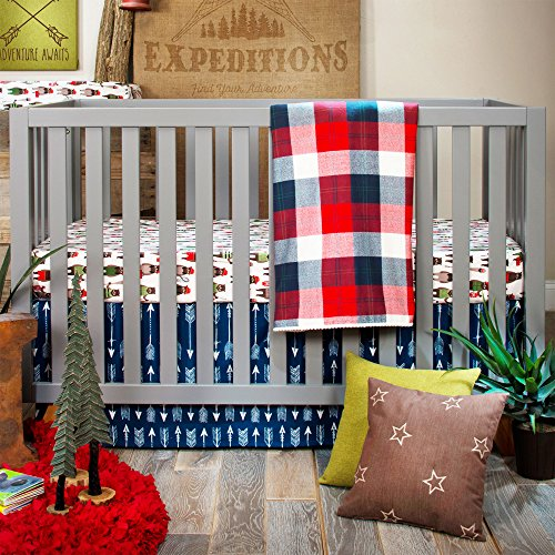 Skirt Glenna Cotton Jean Crib (Camp River Rock Navy/Red Plaid 3 Piece Baby Crib Bedding Set by Glenna Jean)
