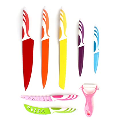 Ordinaire HOMSPORT 8 Pieces Colorful Kitchen Knife Set Stainless Steel Knives With  Multicolor Coating U2013 Knife Sets
