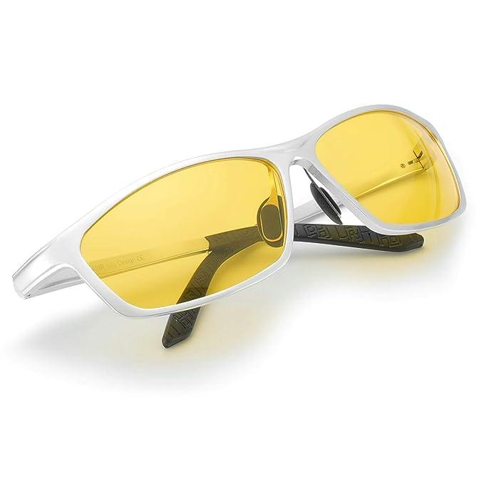 87d3758c4e Myiaur Gafas Amarillas Rectangulares para Conducir de Noche Polarizadas  Antideslumbrantes 100% UVA UVB protection (