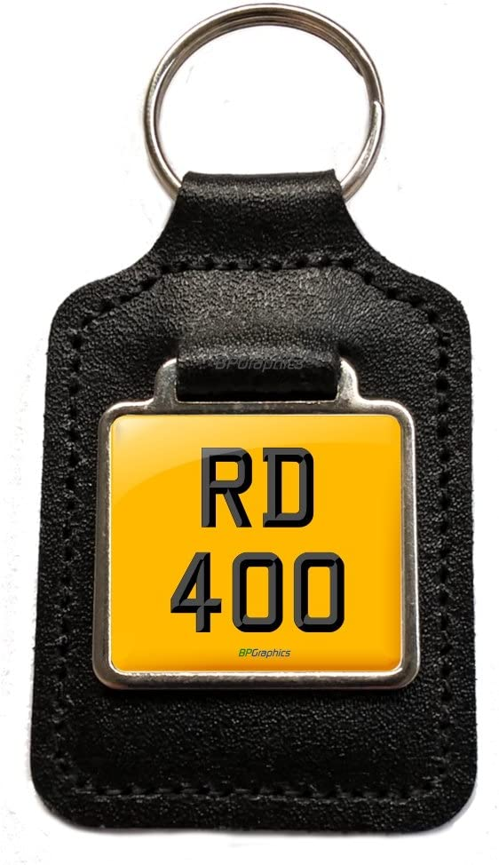 BPGraphics RD 400 Cherished Number Plate Keyring Keyfob Gift in Black Leather for RD400 D Dx E F Motorcycle Keys.