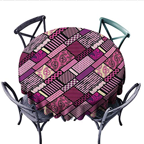 Magenta Decor Printed Circle Tablecloth Patchwork Polka Dots and Paisley Leaf Straight Lines Mix Complex Pattern Stain Resistant Wrinkle Tablecloth (Round, 70 Inch, Plum Purple) ()