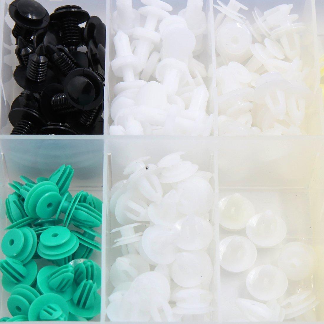 Amazon.com: eDealMax 210 Pcs 10 Tipo de plástico auto de choque Remaches contacto del empuje burletes de moldeo Sujetador Clip: Automotive