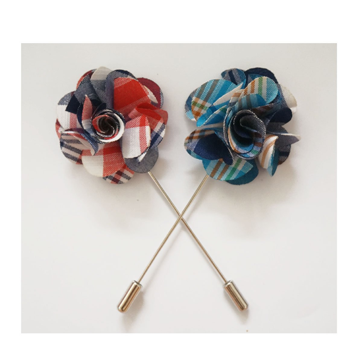 Sunny Home Men's Plaid Lapel Flower Pin Handmade Boutonniere for Suit(Pack of 2) (Green+Pink)
