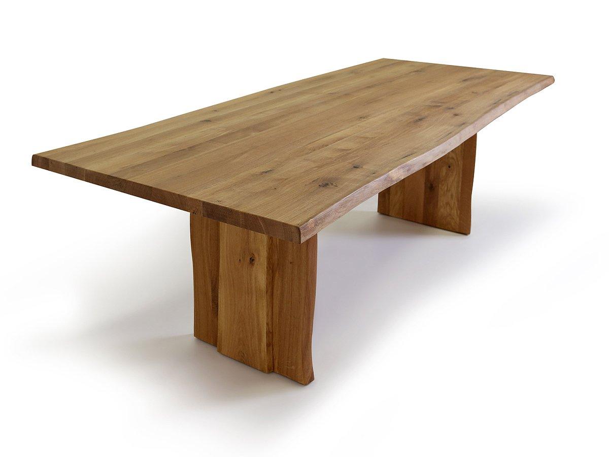 Esstisch wildeiche baumkante  TREE Baumtisch mit Baumkante, 180-220-260 x 100 cm, Holzwange ...