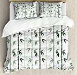 Bamboo Duvet Cover Set King Size by Lunarable, Asian Forest Inspired Pattern Feng Shui Theme Zen Spa Nature Design, Decorative 3 Piece Bedding Set with 2 Pillow Shams, Dark Green Pale Green White