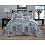 5 Piece Grey Pink Blue Girls I Love Paris Theme Quilt King Set, Beautiful France Inspired Bicycle Bedding, All Over Multi Eiffel Tower French Bike Famous Building Themed Pattern, Gray Light Teal