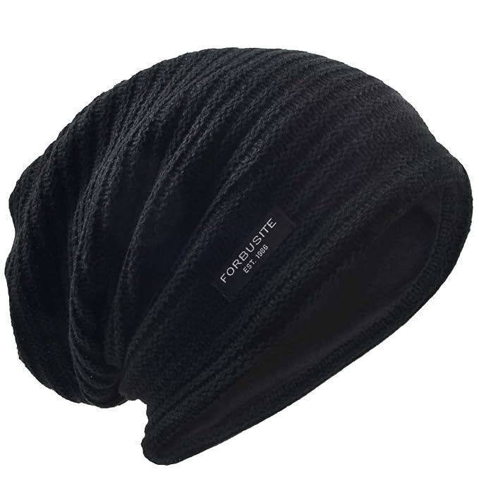 06bb72f50f606a VECRY Men's Slouchy Beanie Knit Crochet Rasta Cap for Summer Winter (Black)