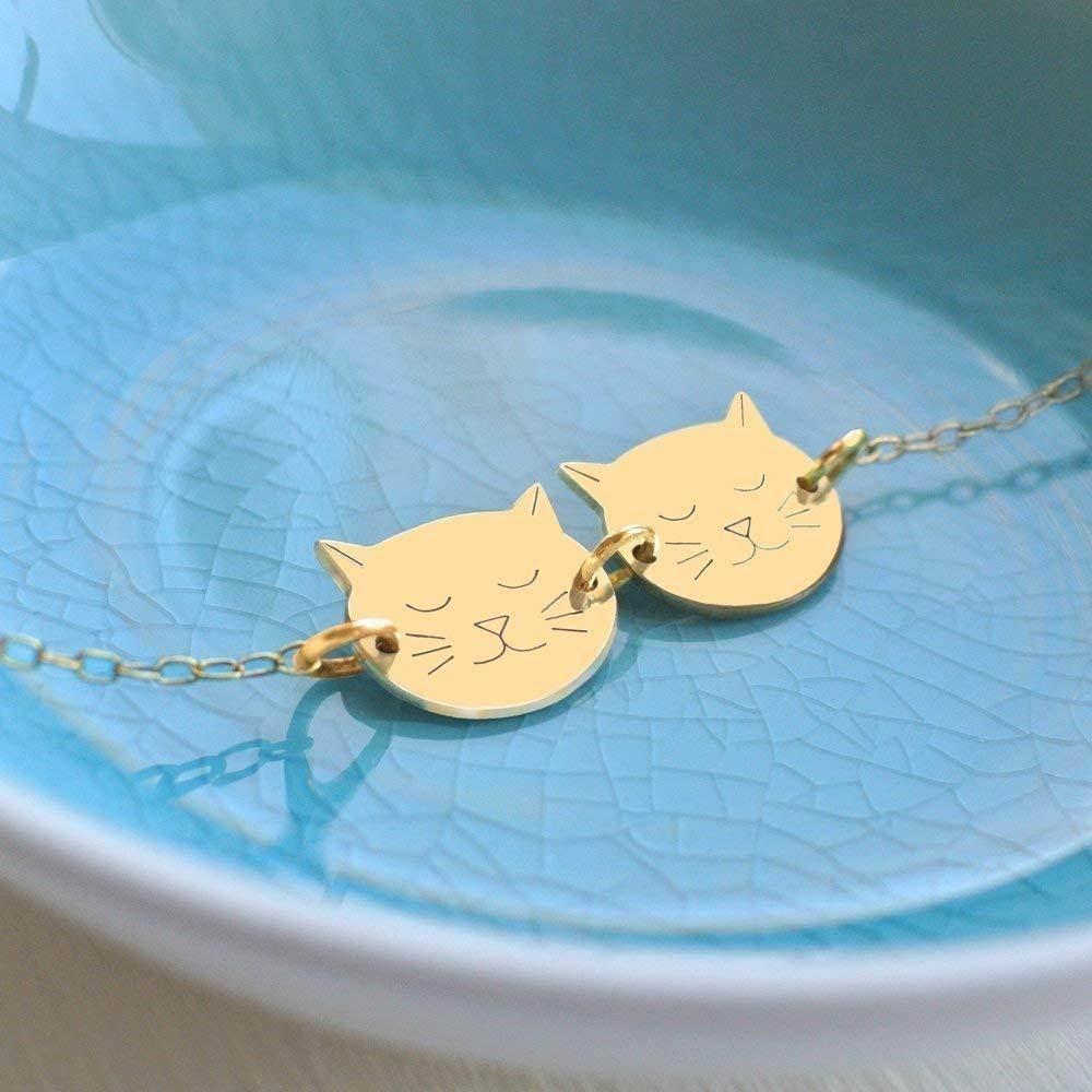 cadeau pour les amoureux des chats cadeau danniversaire Bracelet en Or Personnalis/é avec Deux Petits Visages de Chat bracelet chat