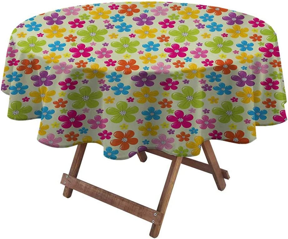 """Round Tablecloths for Parties Colorful for Patio, Picnic, Camping, Spring, Summer Sixties Inspired Colorful Flowers Hippie Motifs Flourishing Nature Illustration 48"""" Diameter Multicolor"""