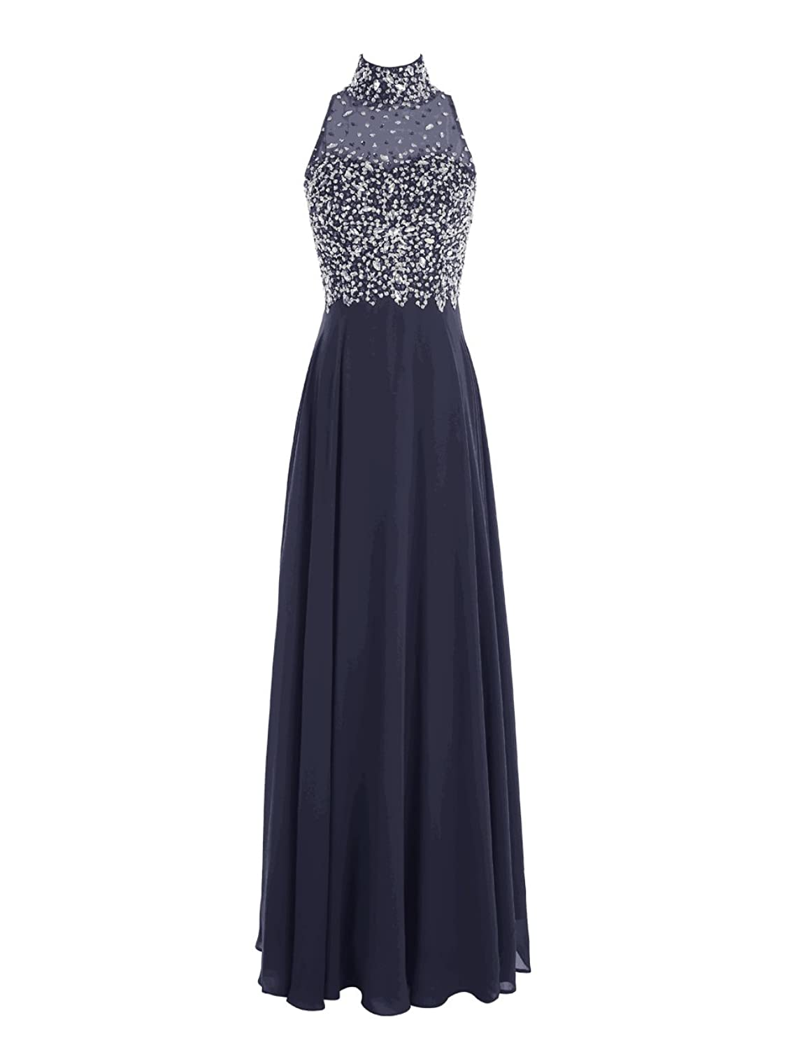 Dresstells? Long Chiffon Open Back Prom Dress With Beading Evening Party Wear