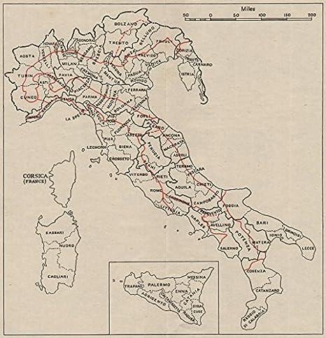 Italia Cartina Con Province.Italia Province Scomparti Fisico Regioni Rosso Ww2 Rn Intelligence Mappa 1945 Old Antique Mappa Vintage Stampato Mappe Dell Italia Amazon It Casa E Cucina