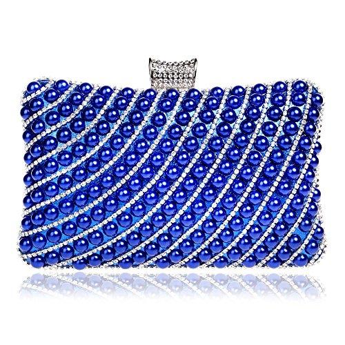 Tutu Femmes Sac À Main Soirée Perle Strass Sacs D'épaule Chaîne Sac D'embrayage En Métal Diamant, Argent Bleu