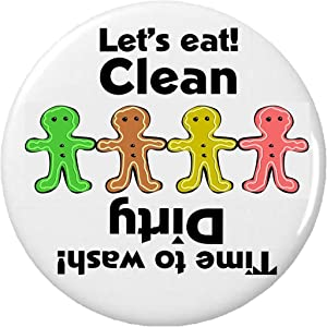 "Clean / Dirty (Gingerbread Men / Holiday) 2.25"" Magnet Dishes Dishwasher Kitchen"