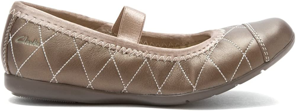 CLARKS Girls Dance Pop Pewter Mary Jane Flat