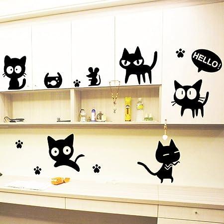 Loverly gatos adhesivo decorativo para pared casa de vinilo extraíble papel pintado de salón dormitorio cocina arte imagen PVC Murales de ventana ...