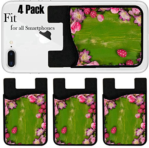 Liili Phone Card holder sleeve/wallet for iPhone Samsung Android and all smartphones with removable microfiber screen cleaner Silicone card Caddy(4 Pack) ID: 21787411 Easter eggs mixed with assorted by Liili