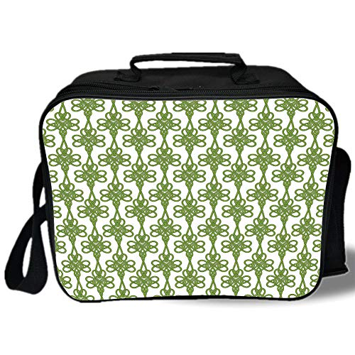 Irish 3D Print Insulated Lunch Bag,Entangled Clover Leaves Twigs Celtic Pattern Botanical Filigree Inspired Retro Tile Decorative,for Work/School/Picnic,Green Cream