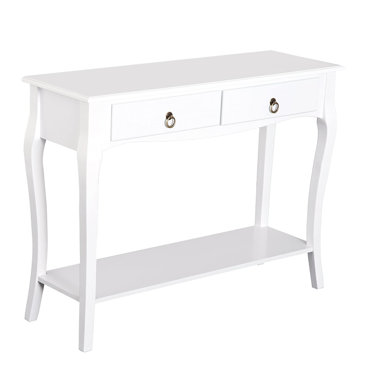 HOMCOM MDF Console Table Storage Display Desk Home Office 2 Drawers Modern Eco-friendly - Ivory White Sold by MHSTAR