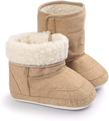 vanberfia Unisex Baby Winter Cozy Fleece Lined Booties Anti-Slip Soft Sole Shoes for 0-18 Months