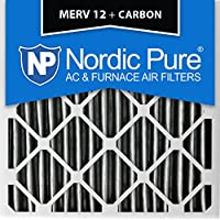 Nordic Pure 16x16x2PM12C-3 Pleated MERV 12 Plus Carbon AC Furnace Filters (3 Pack), 16 x 16 x 2