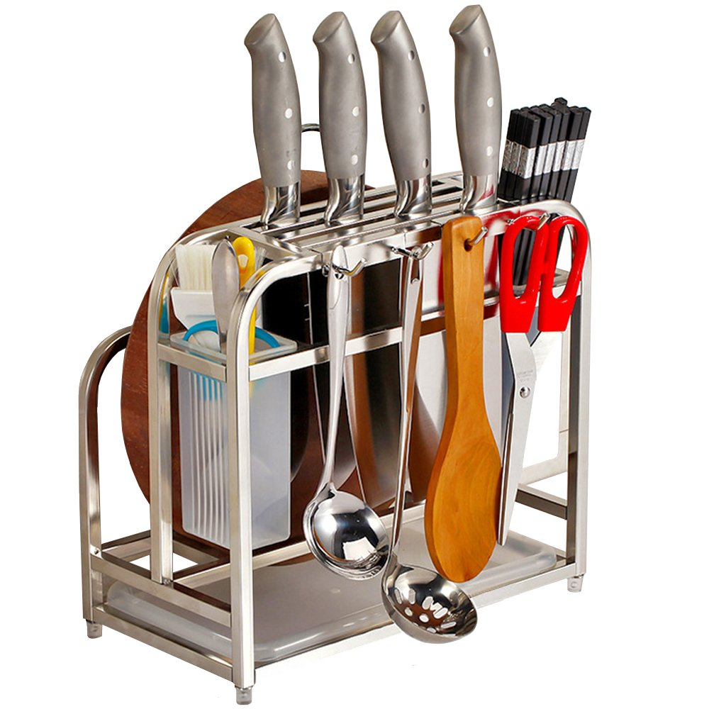 AIYoo Multifunctional Kitchen Tools Storage Rack,Stainless Steel Knife Block Cutting Board Holder Utensils Holder Organizer Shelf With 4 Hooks Kitchen Utensils Storage Rack Counter Display Stand
