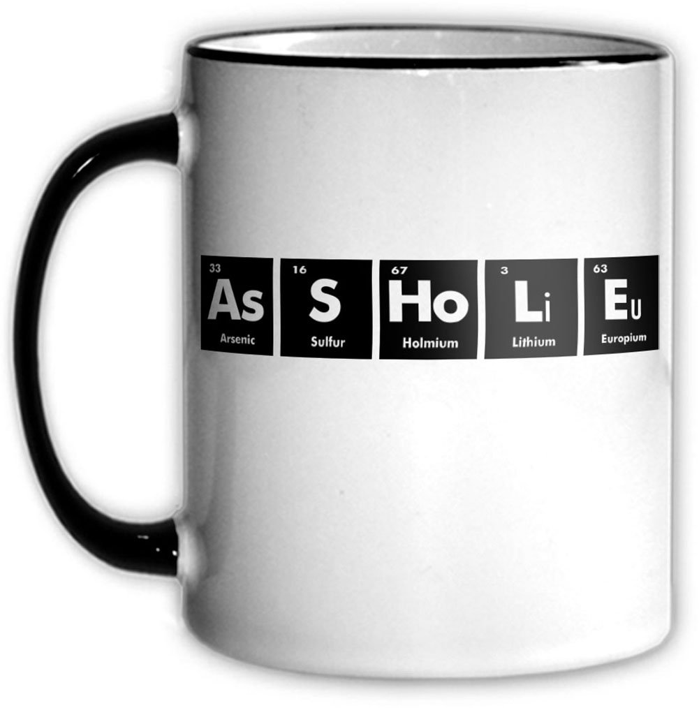 Amazon asshole periodic table coffee tea mug with chemical amazon asshole periodic table coffee tea mug with chemical symbols for a science nerd or geek funny office gift kitchen dining gamestrikefo Gallery