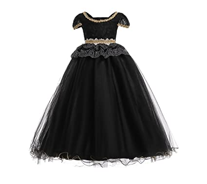 HX Girls Elegant Princess Black Lace Short Sleeve Formal Prom Flower Girl Wedding Party Gown Long